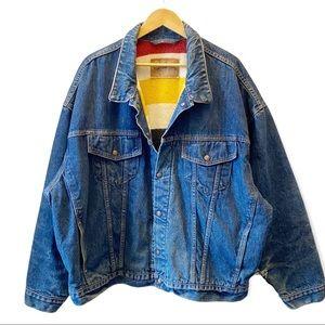 RARE Vintage Levi's & HBC Reversible Blanket Lined Denim Trucker Jacket Size XXL
